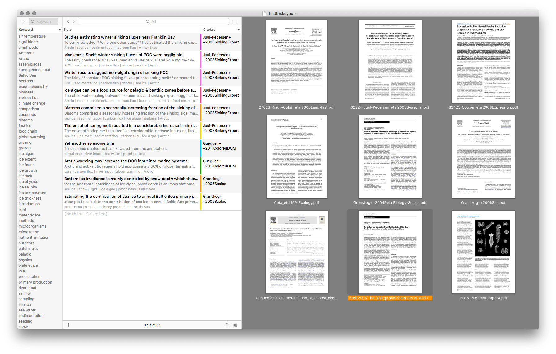 Keypoints screenshot showing list of files for all displayed notes
