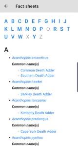 Australian Snake ID Fact sheet index