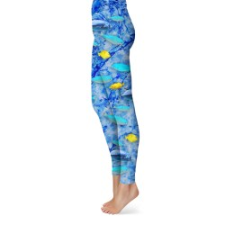 yellow and blue reef fish leggings