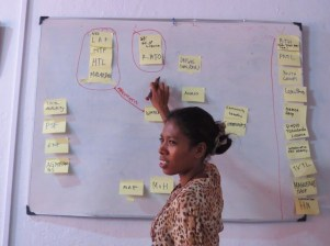 Apolonia Barreto of WaterAid Timor Leste facilitating a participatory partnership mapping exercise. Credit Tim Davis/WaterAid