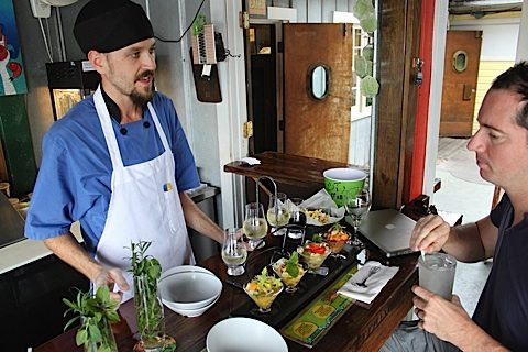 """Ceviche chef Tommy Radziejewski says the dish is as simple as it is flavorful. """"Citrus juice cures the fish, and the chilis, herbs, and vegetables enhance it."""""""