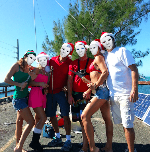 A group of people posing for the camera - Seven Mile Bridge