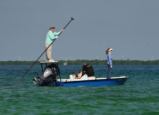A group of people riding on the back of a boat in the water - Recreational fishing