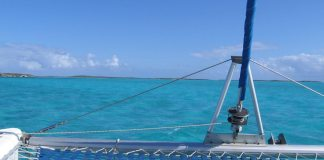 #Feature: Paradise Found Sailing - A person in a blue boat sitting next to a body of water - Sail