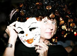 Lynda Frenchette shows off her freshly decorated mask.