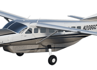 Airline in Talks to Provide Service - A large passenger jet flying through the air - Cessna