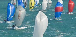 #News: Sailors breeze into Key West - A group of hot air balloons in the water - Sail