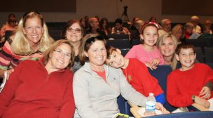 Ginger Sayer, left, Maggie Sayer, Beverly Ferris, Mary Coleman, Cullen Coleman-Sayer, Caroline and Jody Freeman and Fisher Coleman-Sayer are ready for the Saturday matinee of Charlie Brown.