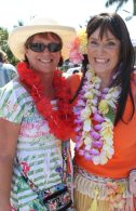 BPW members Sue Lovely and Sandra Bradshaw bring the island theme to life with their hula girl style.
