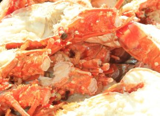 Seafood Fest feeds the crowd – Fishermen and their families benefit from event - A crab on a table - King crab