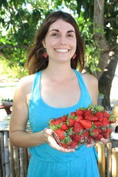 Volunteer Michelle Baldovin creates strawberry jam with Redland strawberries. The class taught attendees how to preserve fruit. She is planning another class when the Grimal Grove mangos are ripe.
