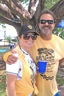City of Marathon public works director Carlos Solis gives Madeleine Vogelsang a hug for good luck.