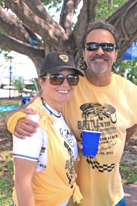 City of Marathon public works director Carlos Solis gives Madeleine Vogelsang a hug for good luck.