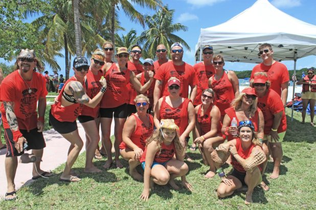 There's a winning team, but this wasn't it. However the Conch Monsters, lead by Kirsten Difender, lower right, put on an awesome display of paddling power. They declared themselves the winners of the 'loser' heat.