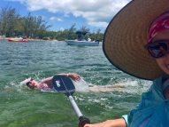 Swimming around Key West … is much easier for the kayaker - A man swimming in the water - Water
