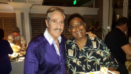 Two big smiles with bigger hearts to match. George Fernandez and Key West City Commissioner Clayton Lopez indulge in an evening of giving.