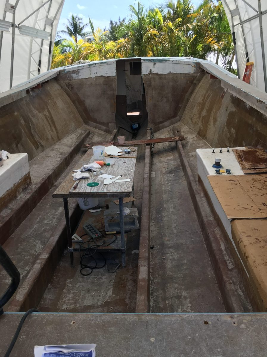Frank's next project will take about three weeks to complete – restoring at 38-foot Torres boat, including painting and building a cab in the front.
