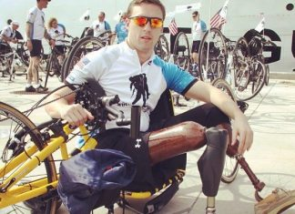 Soldier Salute: Wounded Warriors ride through Keys - A person riding on the back of a bicycle - Bicycle pedal