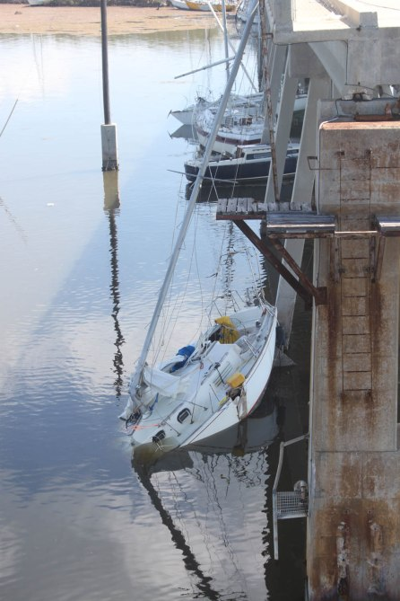 Sailboats are stacked up along the Boot Key Bridge in the Middle Keys.