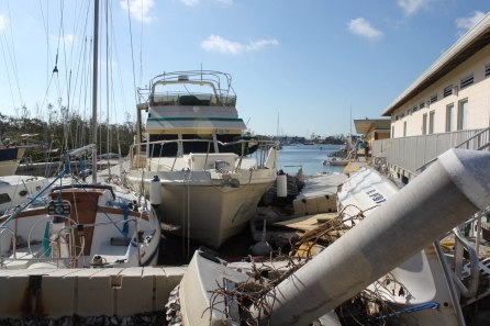 The dinghy dock closest to land is crushed by loose boats at Marathon City Marina. The dinghy docks in front of the Marathon City Marina are gone.