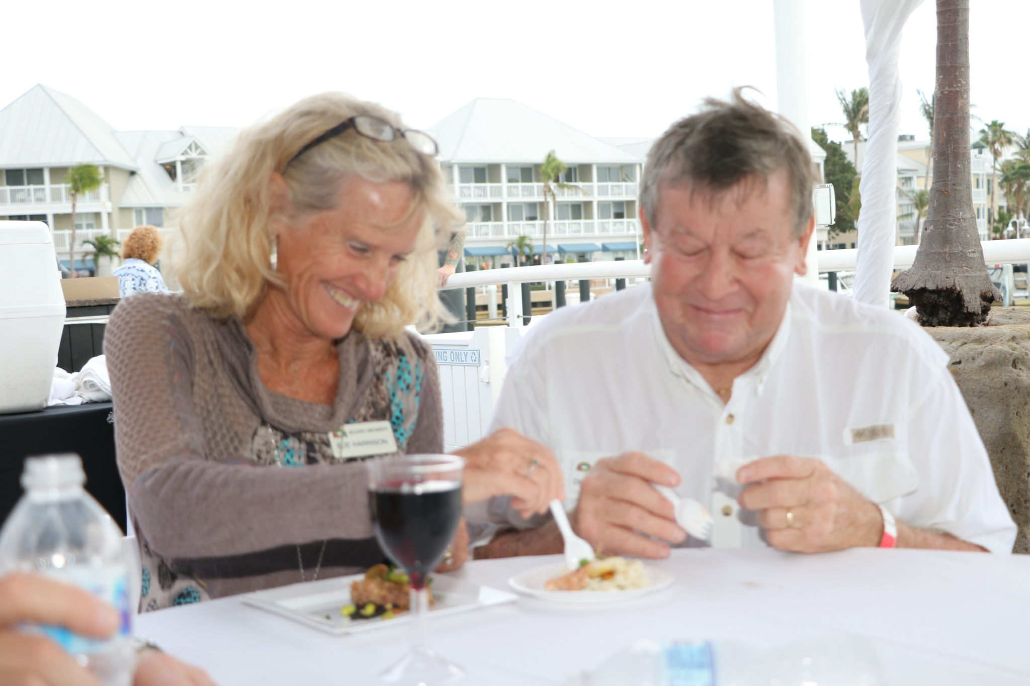 MARC Board Members Sue and Doug Harrison try out some of the grub.