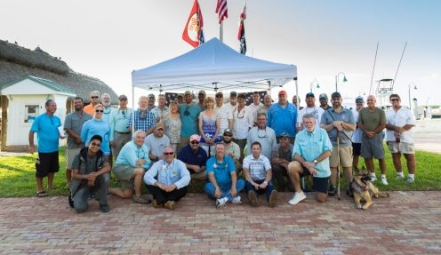 Well wishers, heroes and guides gather on the grounds of the Islamorada Fish Co. for the opening reception dinner.