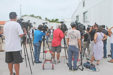 South Florida media arrived in droves to hear Baptist Health South Florida's remarks on the one-year anniversary that destroyed Fishermen's Hospital in Marathon. Baptist's Chief Operating Officer Bo Boulenger makes the opening remarks with the temporary modular hospital in the background.