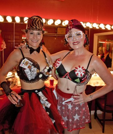 "Volunteer models Daniela Braswell and Erin McKenna look stunning in their bedaz-zled knockers. Braswell is wearing ""Full House,"" created by Catherine Bouquet, and McKenna is wearing ""Full Tilt,"" created by Cricket Desmarais."