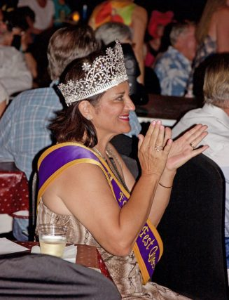 Royalty is in the crowd as new Fantasy Fest Queen, Bernadette Restivo, cheers on the girls.