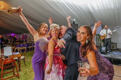 Leah Wampler, from left, Shawna Simcic, Monica Hane, Jonathon Simcic and Sandy Brito pose on the dance floor. Photo by Doug Finger