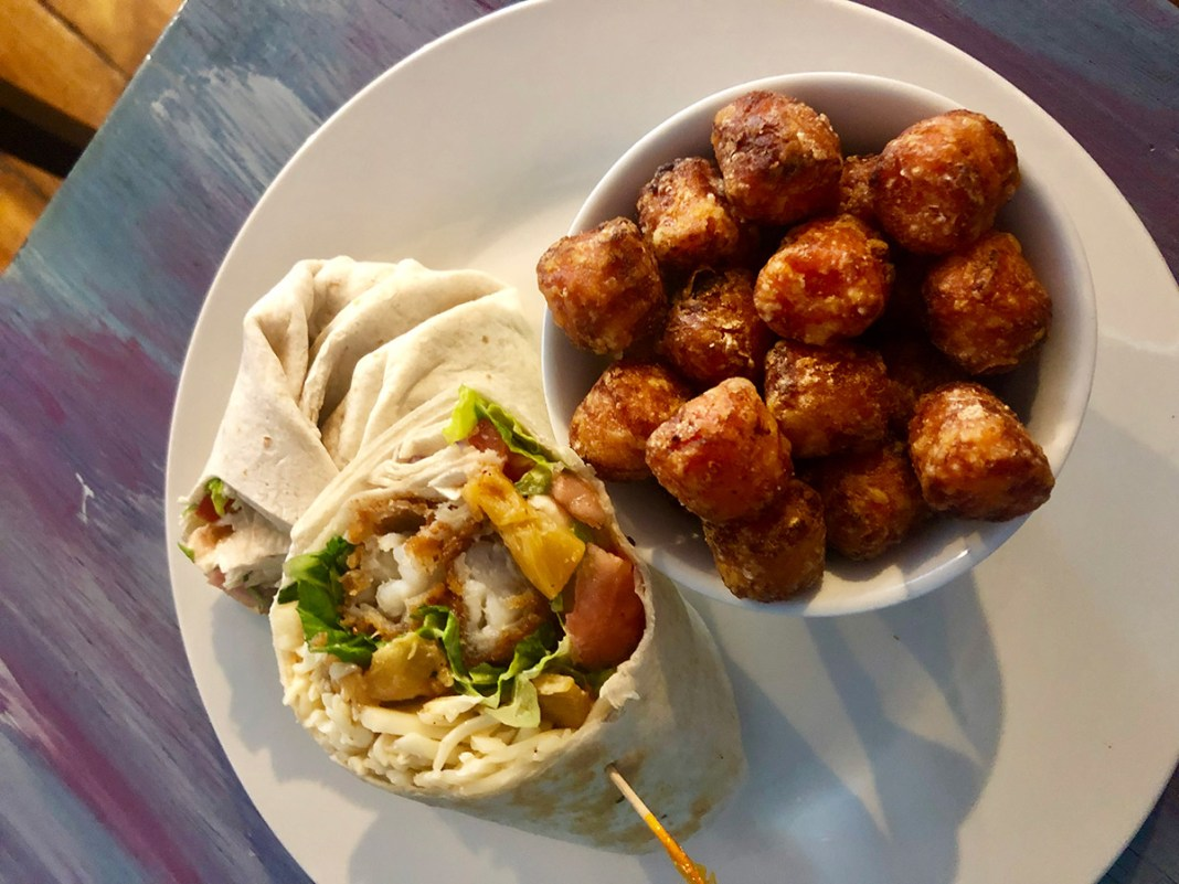 Off the Hook - A plate of food on a table - Falafel