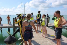 Scouts get some scuba lessons out on the dock on March 11. JIM McCARTHY/Keys Weekly