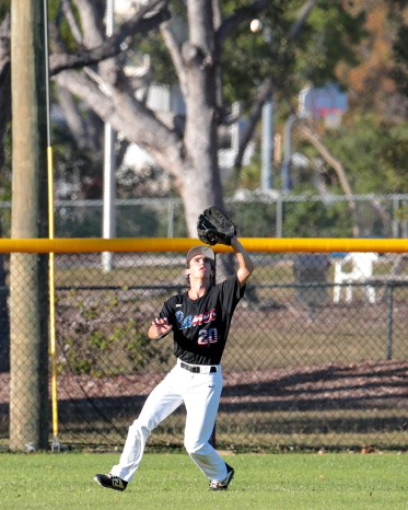 Coral Shores' center fielder Ryan DeLatorre catches a fly ball during the third inning. AUSTIN ARONSSON/Keys Weekly
