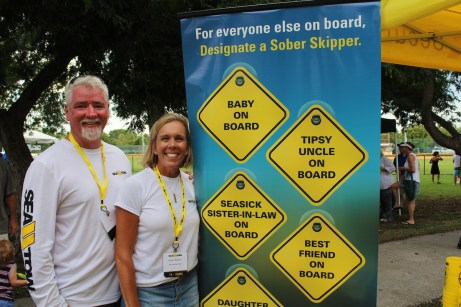 Cheryl and Steve Powers of Sea Tow Key Largo promote the Designated Sober Skipper campaign, a program that encourages boaters to choose a sober skipper before they leave the dock.