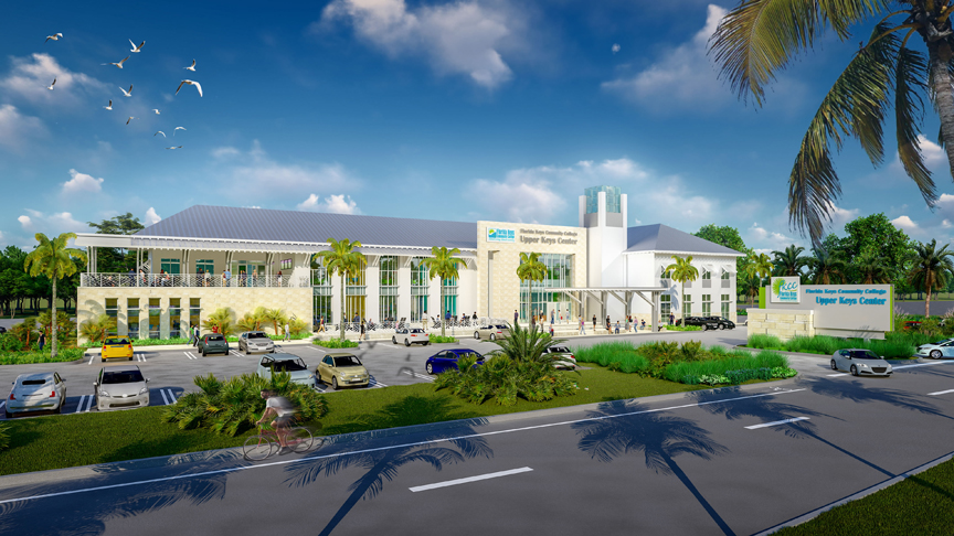 Work underway at college's new Upper Keys Center - A road with palm trees and a building