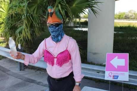 PINK ARMY – Inaugural bra walk in Key Largo sees large support - A person wearing a pink and white flowers - Tree