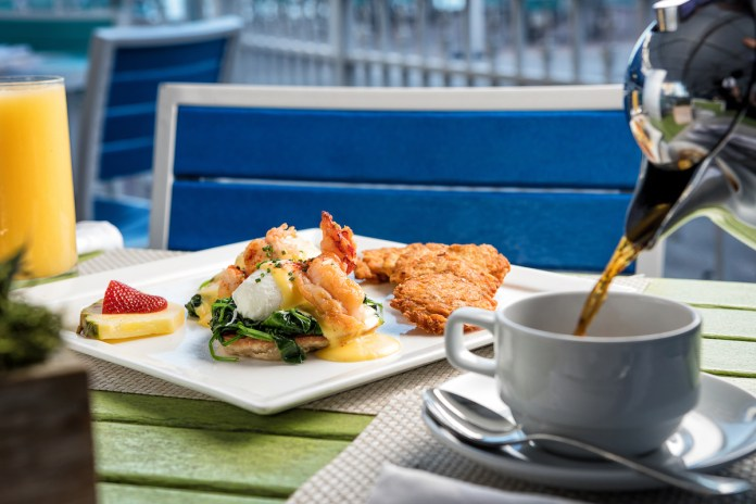 Brunch Perfection at Bistro 245 – Waterfront Landmark Owns Sunday - A plate of food and a cup of coffee - Full breakfast