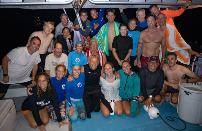 WORTH THE WAIT – CRF corals spawn later than predicted - Ashley Force Hood, Meredith Ward, Joe Walsh posing for a photo - Social group