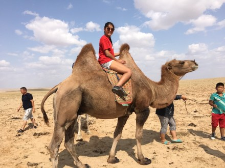 During her summer in Mongolia with the Experiment in International Living, Key West High School student Maryama Akhmetkaliyeva rode a camel in the Gobi Desert and did a home stay in a traditional yurt, or tent-like structure. Contributed photo