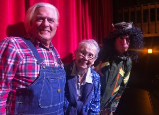 "Playing Their (20) Parts – If you can find a show that makes you laugh more than MCT's ""Greater Tuna""… MOVE! - Geoffrey Horne et al. standing in front of a curtain - Musical theatre"