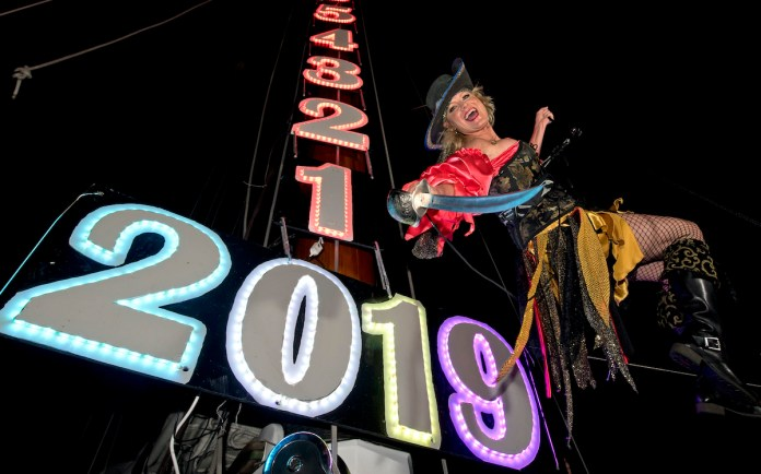 Key West 'drops' in on 2020 - A group of people on a stage - Schooner Wharf Bar