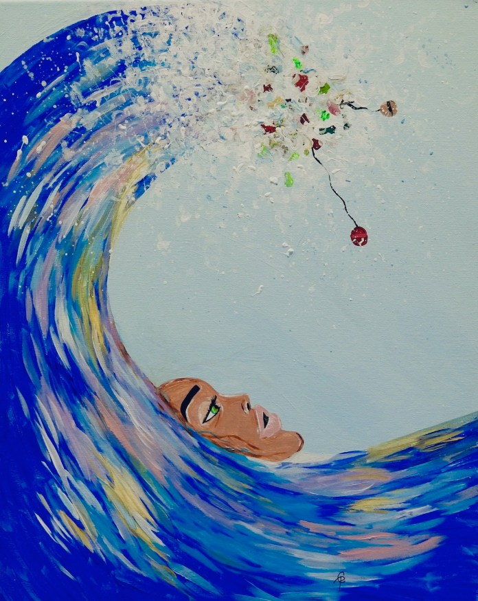 MHS students team up to raise awareness with visual storytelling - A person swimming in the water - Painting