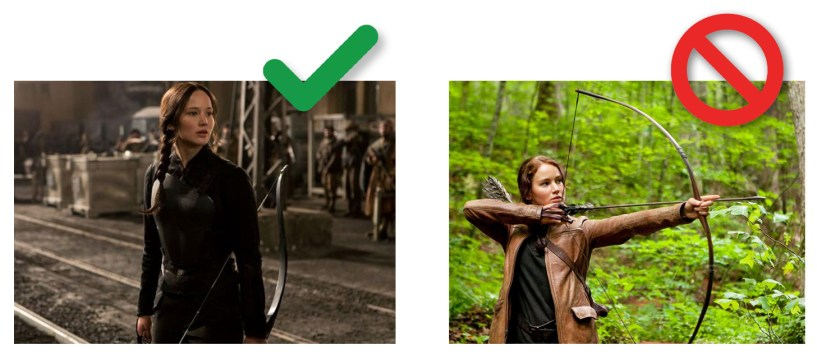 Image depicting Facebook's policy on weapons. A raised bow is not approved. A lowered bow is approved.