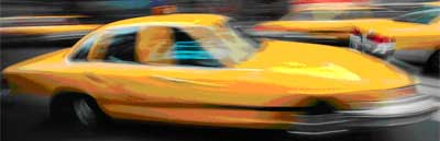 yellow taxi with motion blurcropped