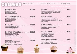 Cupcake Store Menu / Flier Front/Back Cover by K. Fairbanks