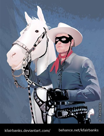 Silver the Horse with The Lone Ranger drawing by K. Fairbanks