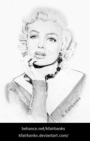 Marilyn Monroe Daydreaming, pencil drawing by K. Fairbanks