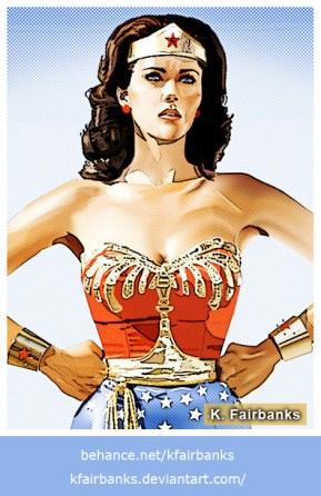 Lynda Carter as Wonder Woman vector drawing by K. Fairbanks