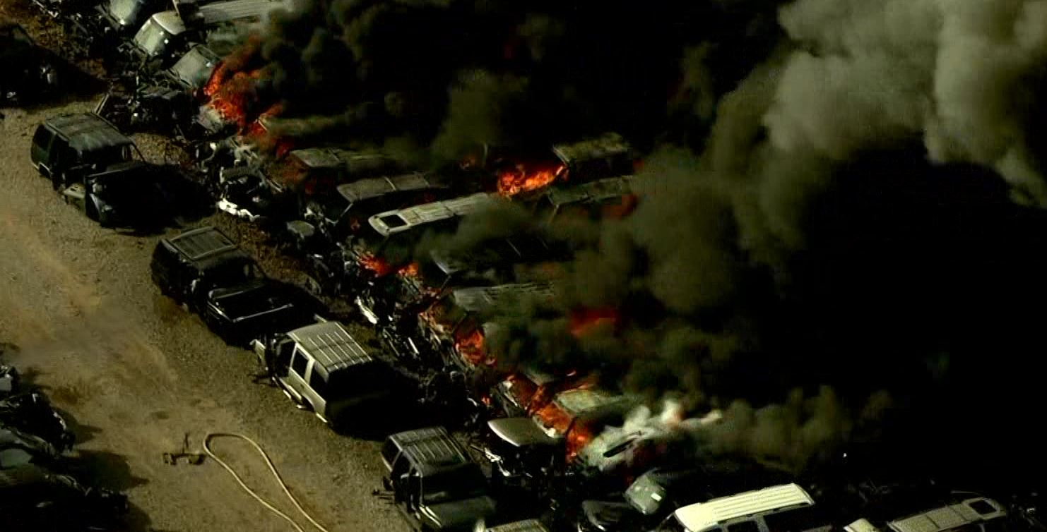 A fire at a salvage yard in Del City sent black smoke into the air.