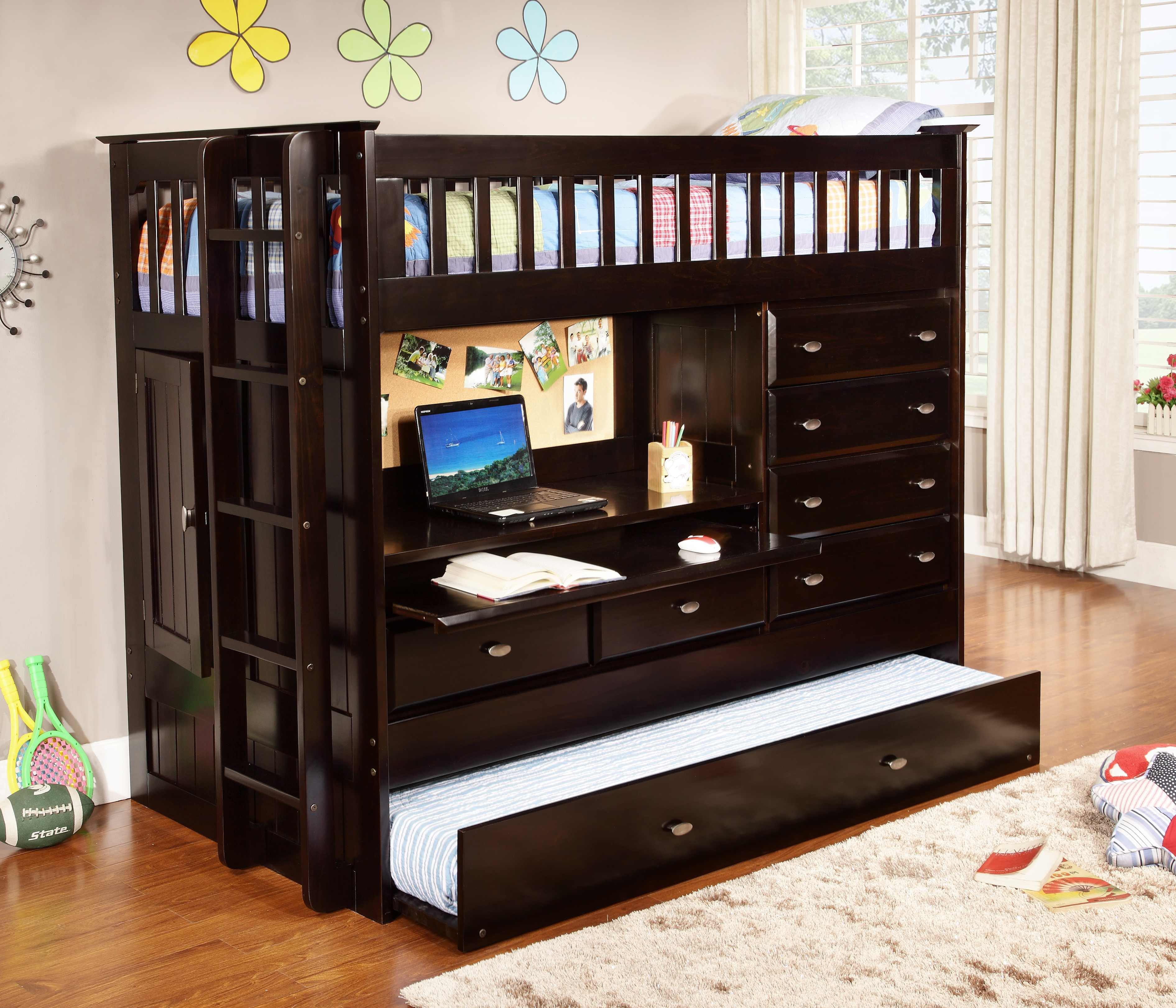 discovery world furniture twin all in one espresso loft bed
